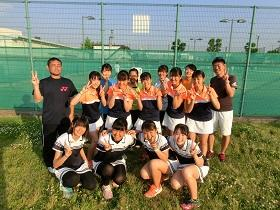 女子テニス部全員で